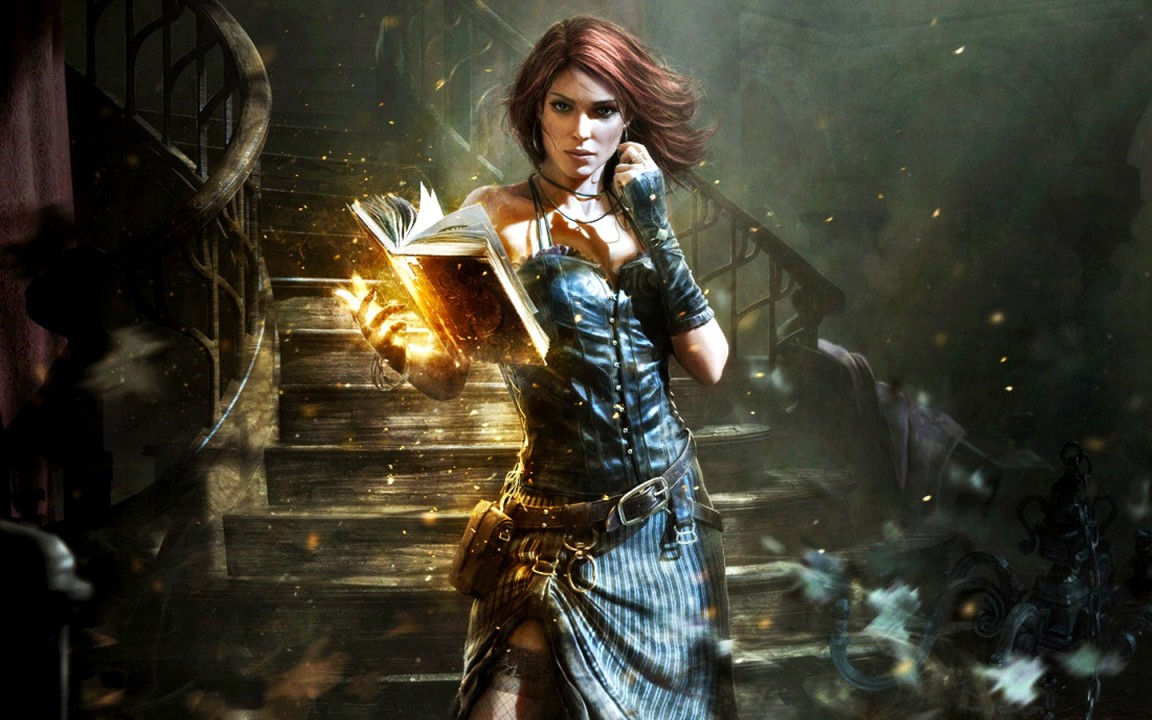 The-Witcher-Triss-Merigold-artwork-books-fantasy-art-paintings-stairways-witches